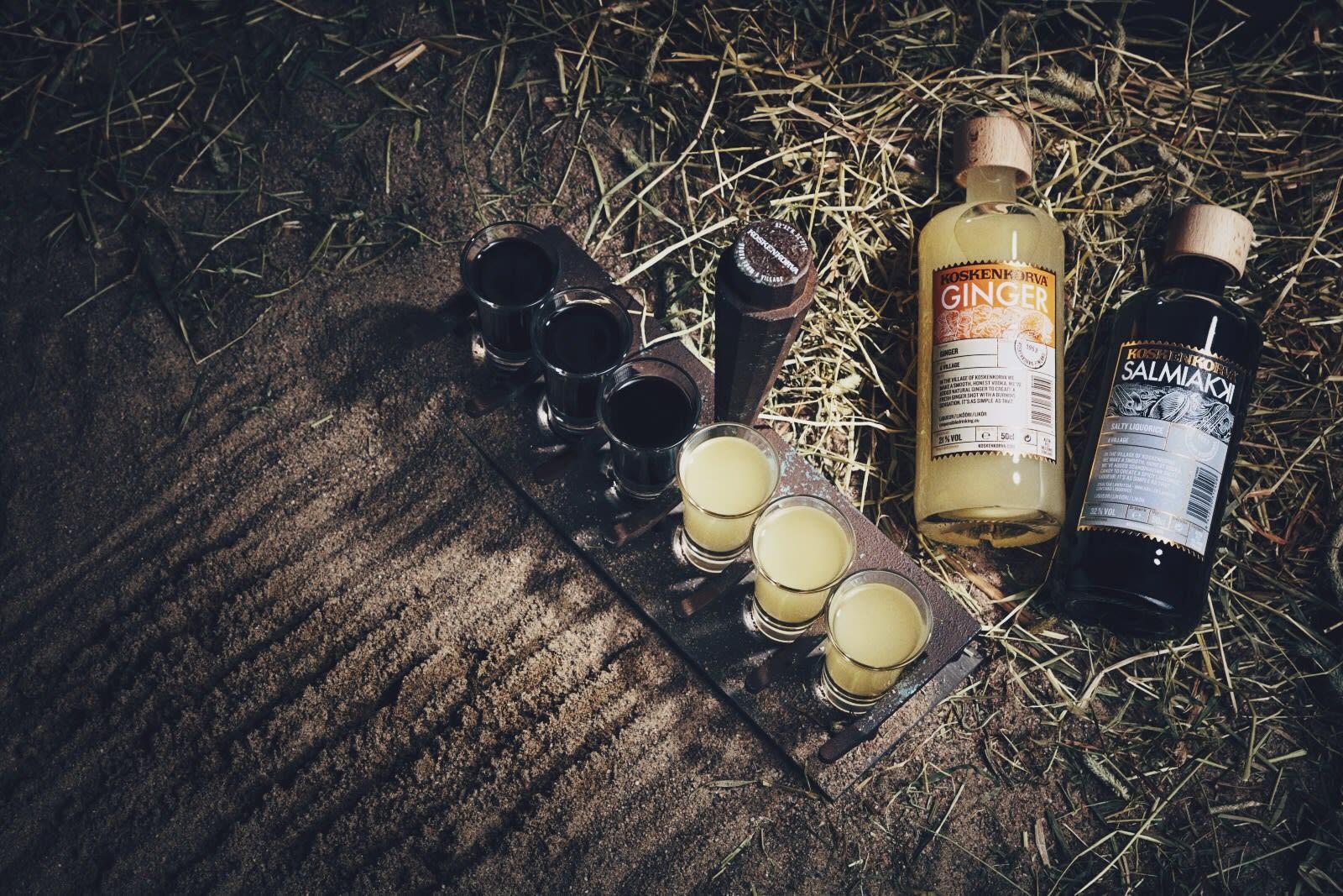 Koskenkorva ginger and salmiakki liqueur shots on rake