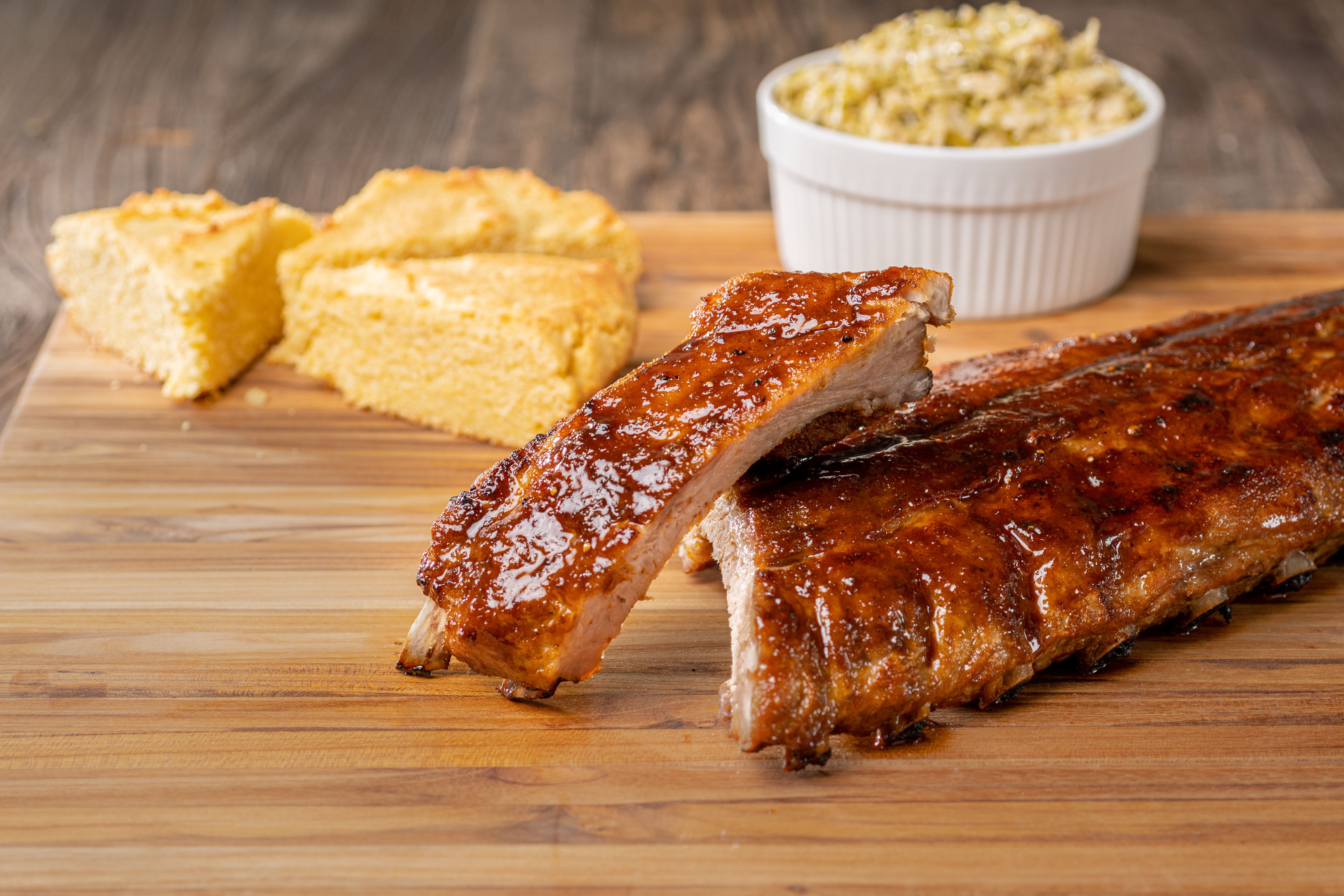 Slice rib sections and serve