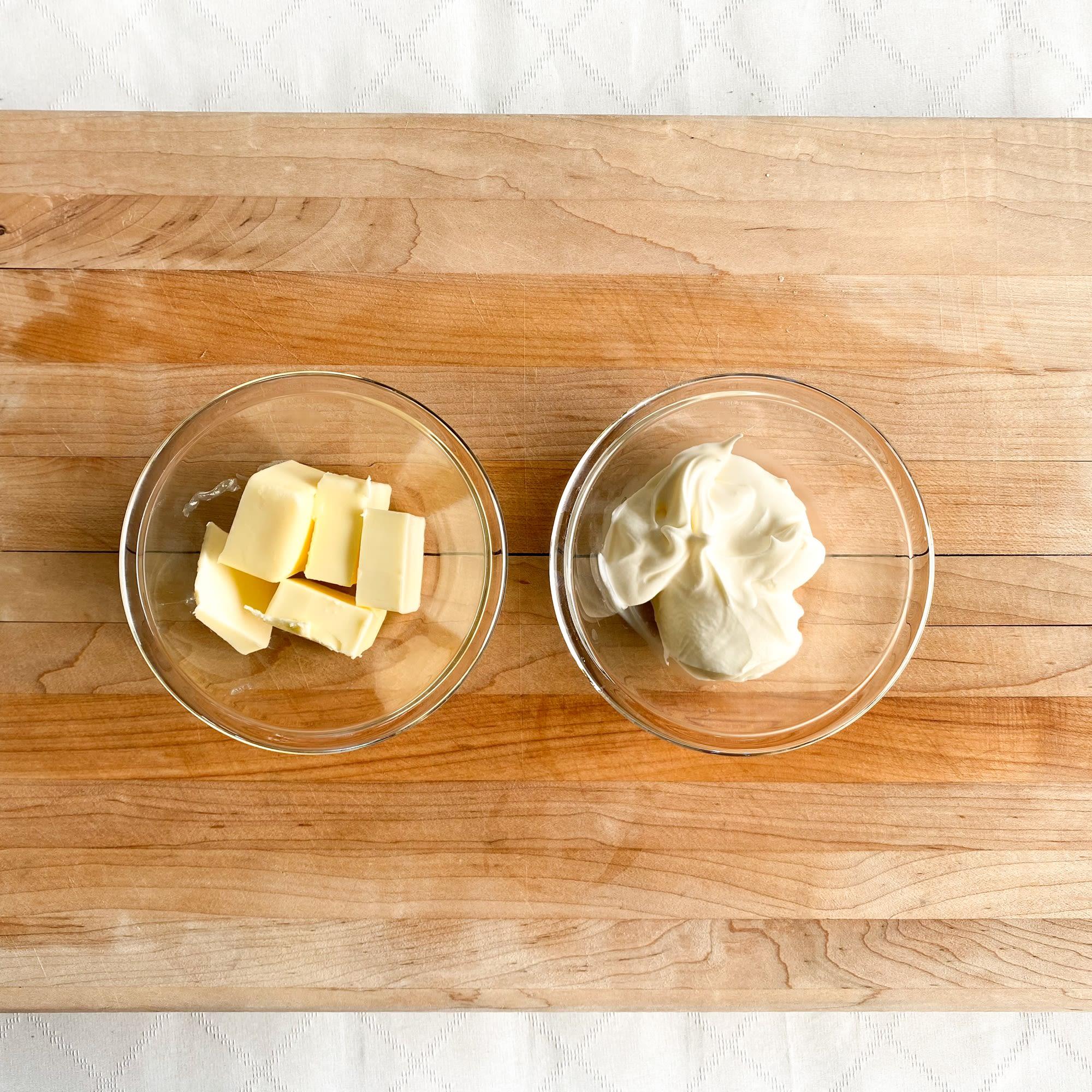 Add butter and creme fraiche.