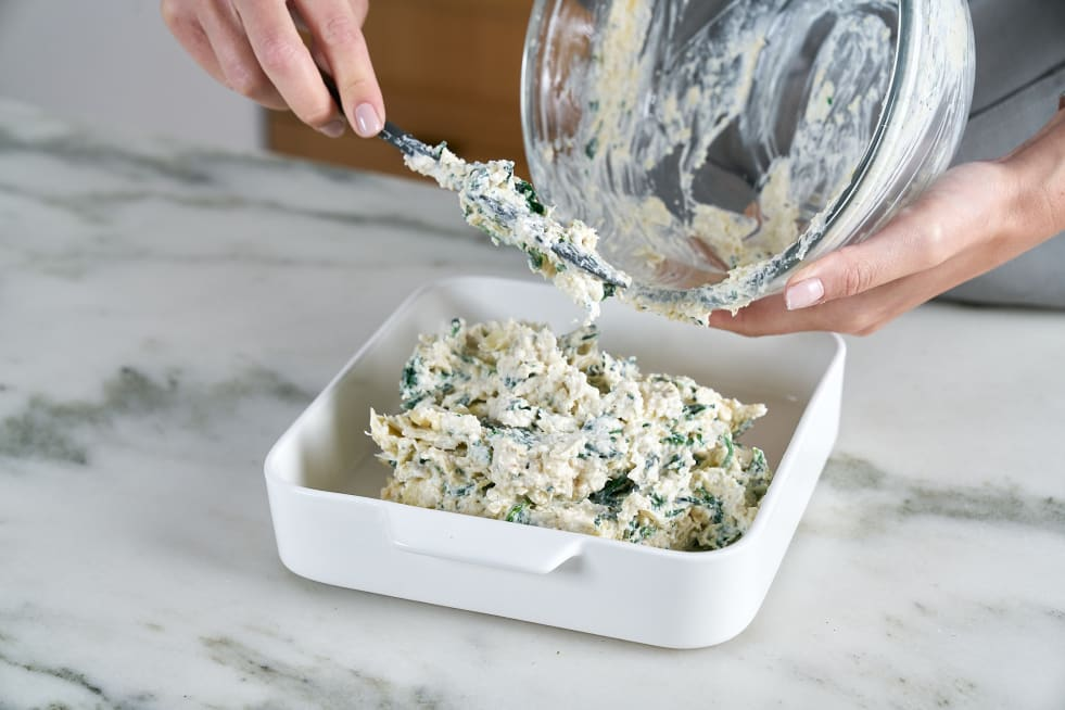 Spoon into oven safe container.