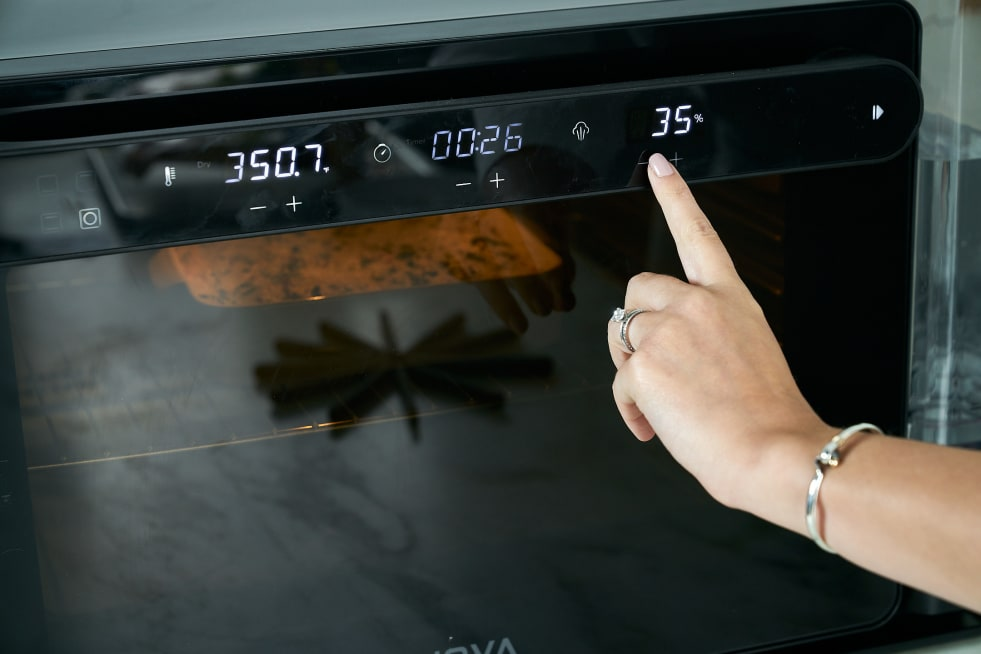 Remove from oven and change settings.