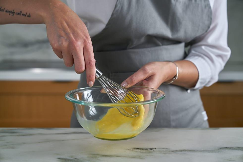 Whisk egg.