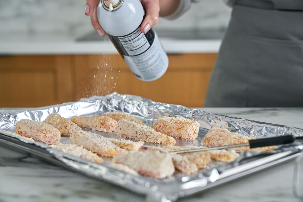 Spray fish with cooking spray.