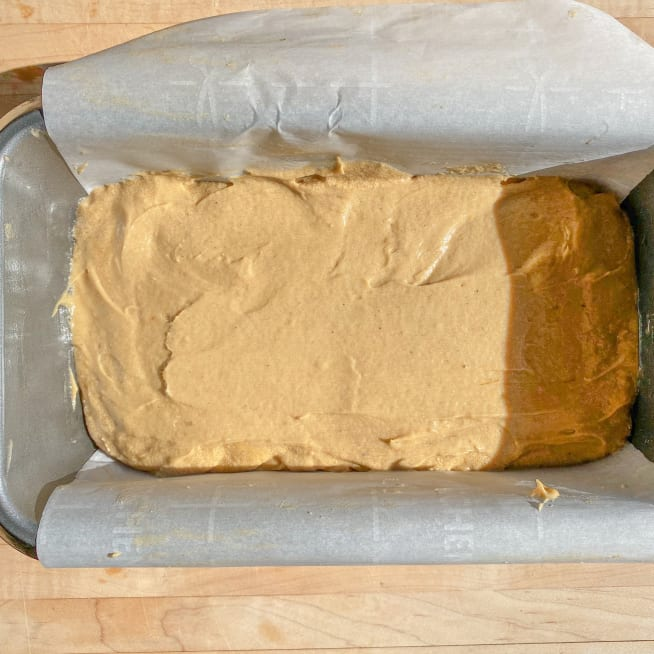 Pour batter into loaf pan.