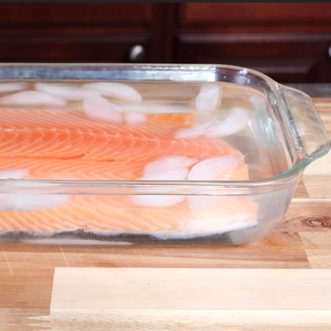 Place Salmon in ice bath.