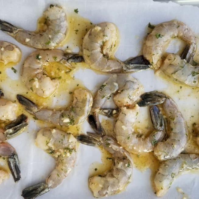 Transfer Shrimp to Sheet Pan