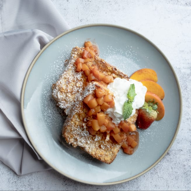 Stuffed and Crusted French Toast with Peach Compote and Guava Cream Cheese