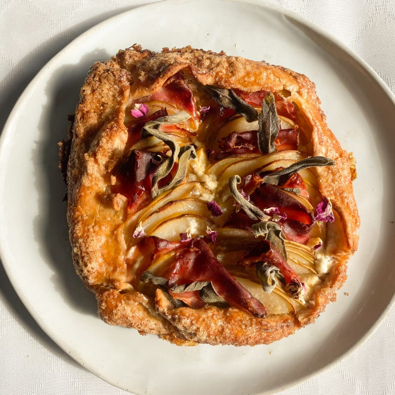 Pear, Goat Cheese, Proscuitto, and Sage Galette