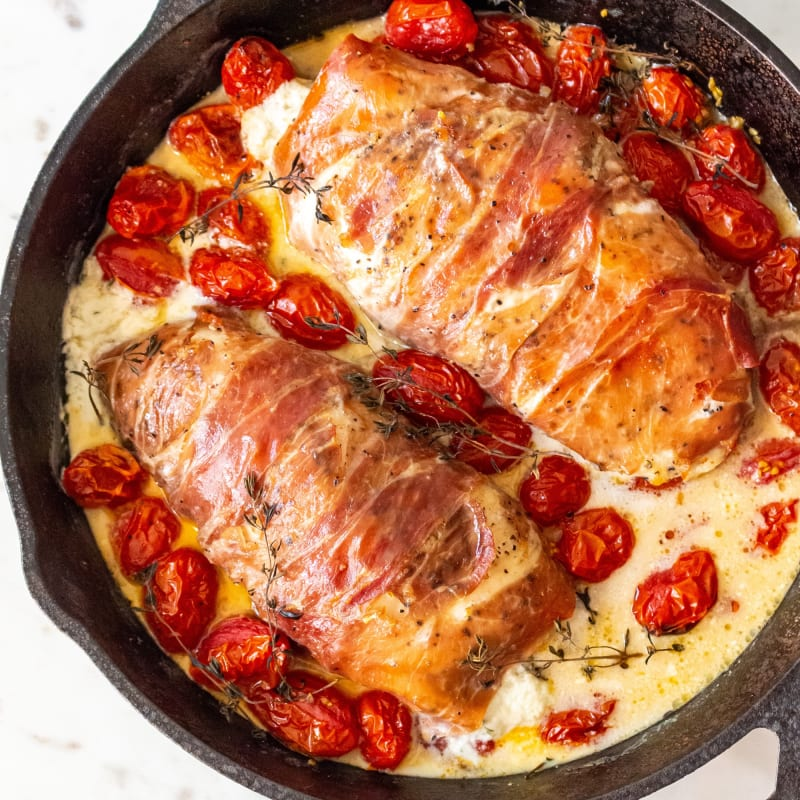 Prosciutto-Wrapped Boursin Stuffed Chicken