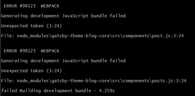 gatsby starter blog theme error in terminal