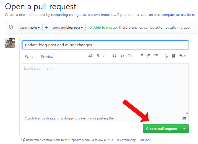 click to create a pull request