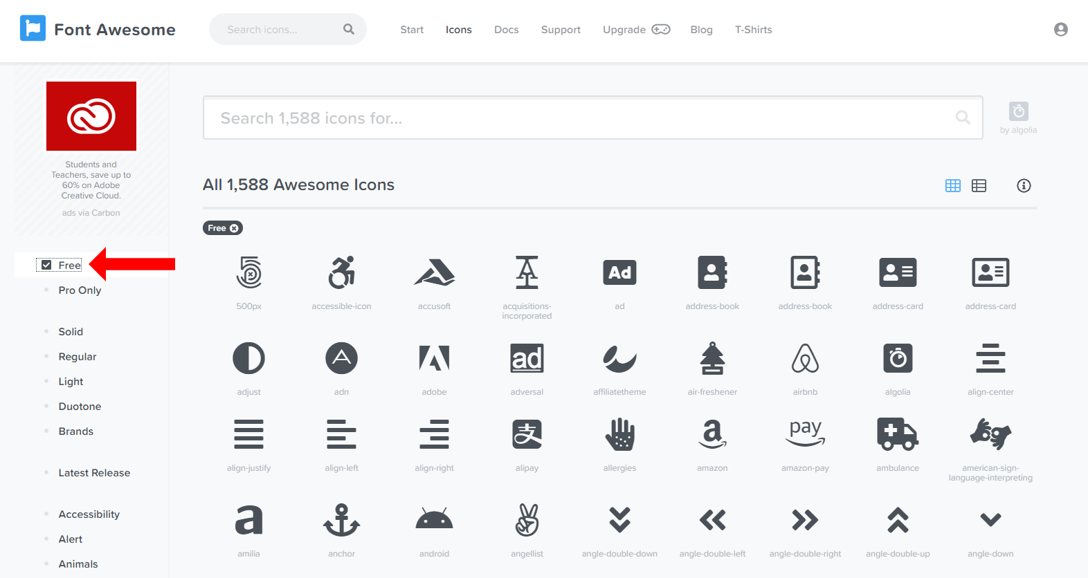 search fontawesome icon