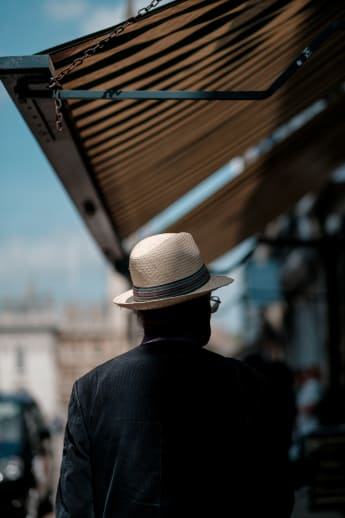 man wearing panama hat