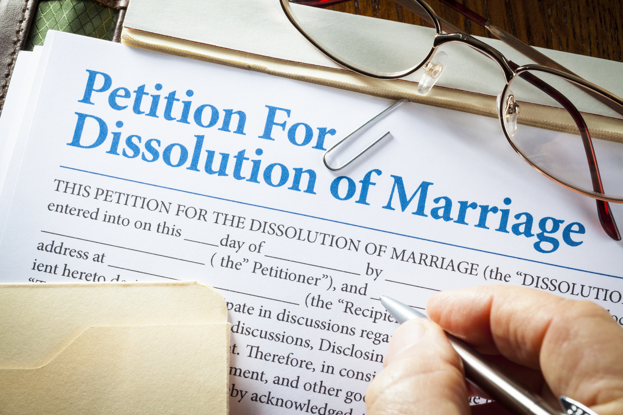 Signing a petition for a dissolution of marriage