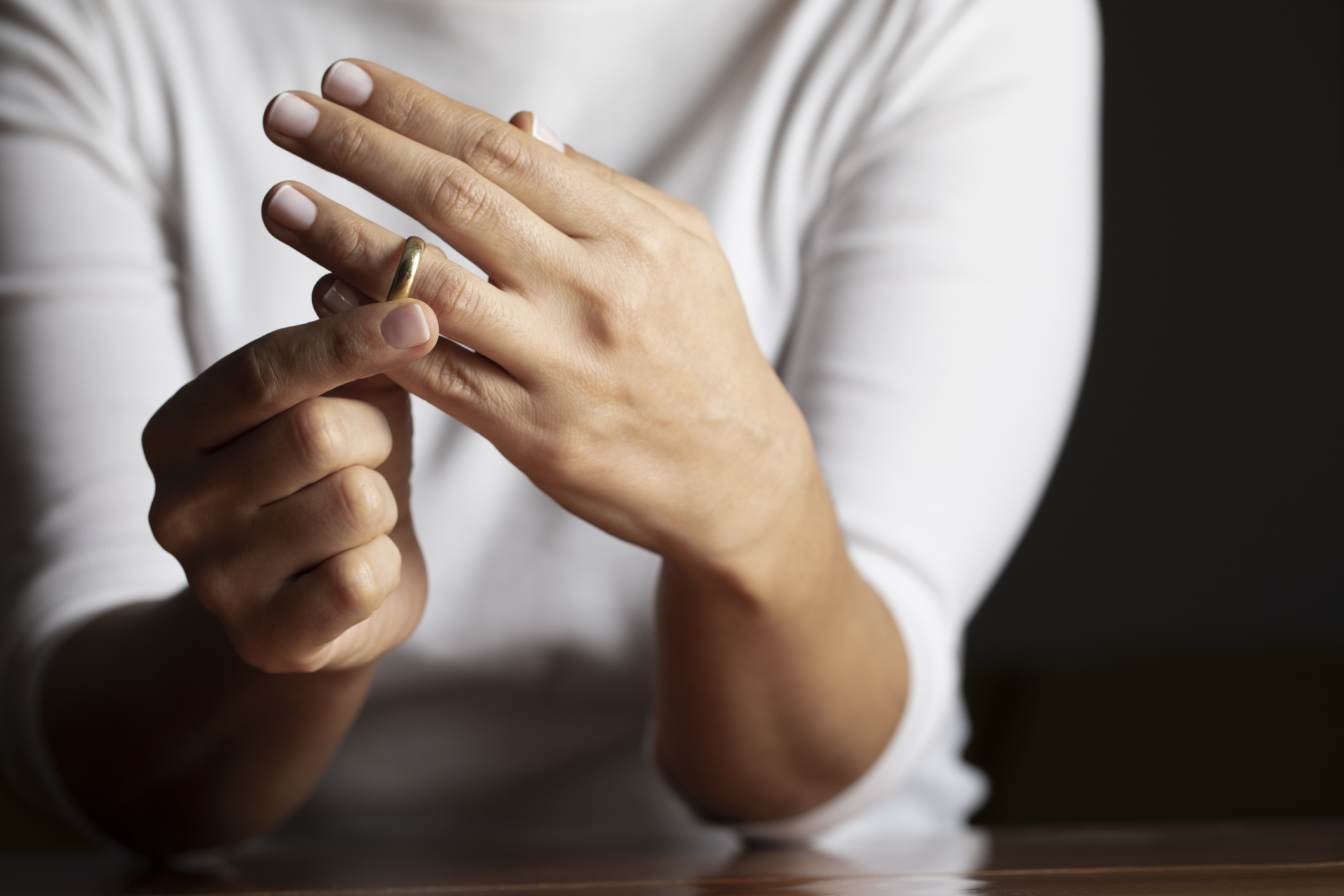 Woman removing her wedding ring after divorce