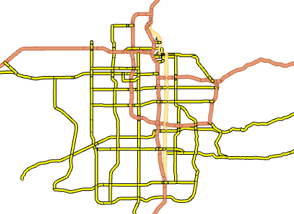 This map shows roads in Utah symbolized