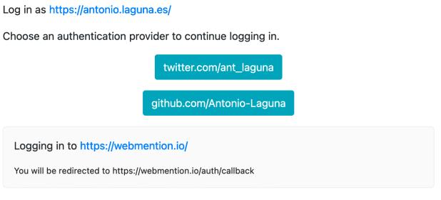 Captura de pantalla de webmention.io que muestra los botones que permiten iniciar sesión para Twitter y GitHub