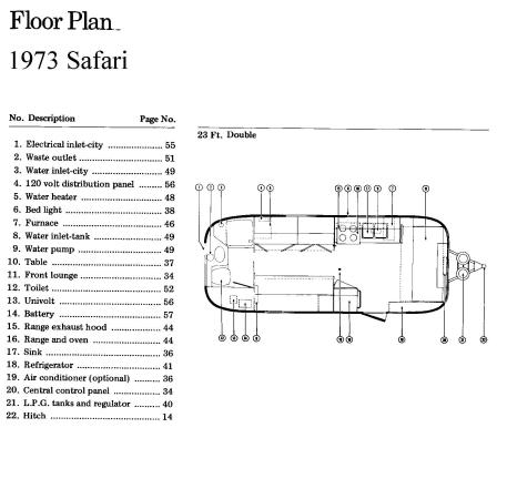 1973 Airstream Safari 23' in Phoenix, AZ : 73 Floorplan
