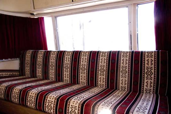 1973 Airstream Safari 23' in Phoenix, AZ : Front Couch folds down into Double Bed