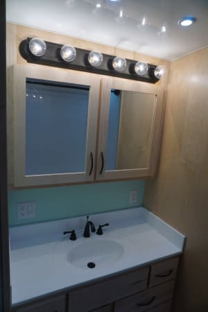 2017 Space Craft V460 45' in Covington, WA : Bathroom Mirror and sink