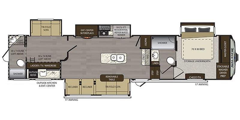 2019 Thor Avalanche 396 bh 40' in Covington, WA : 2019 Keystone Avalanche 396bh floor plan.jpg