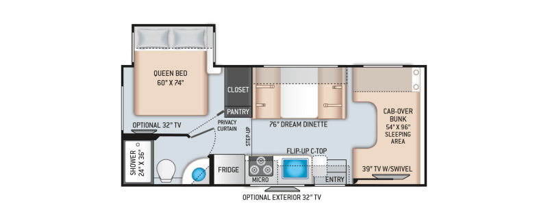 2022 Thor Fourwinds 22' in Portland, OR : 2021-class-c-22b-floor-plan.png