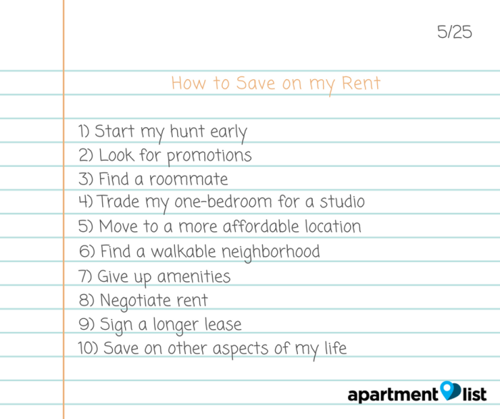 A List Rentals: Top 10 Tips For Saving On Rent