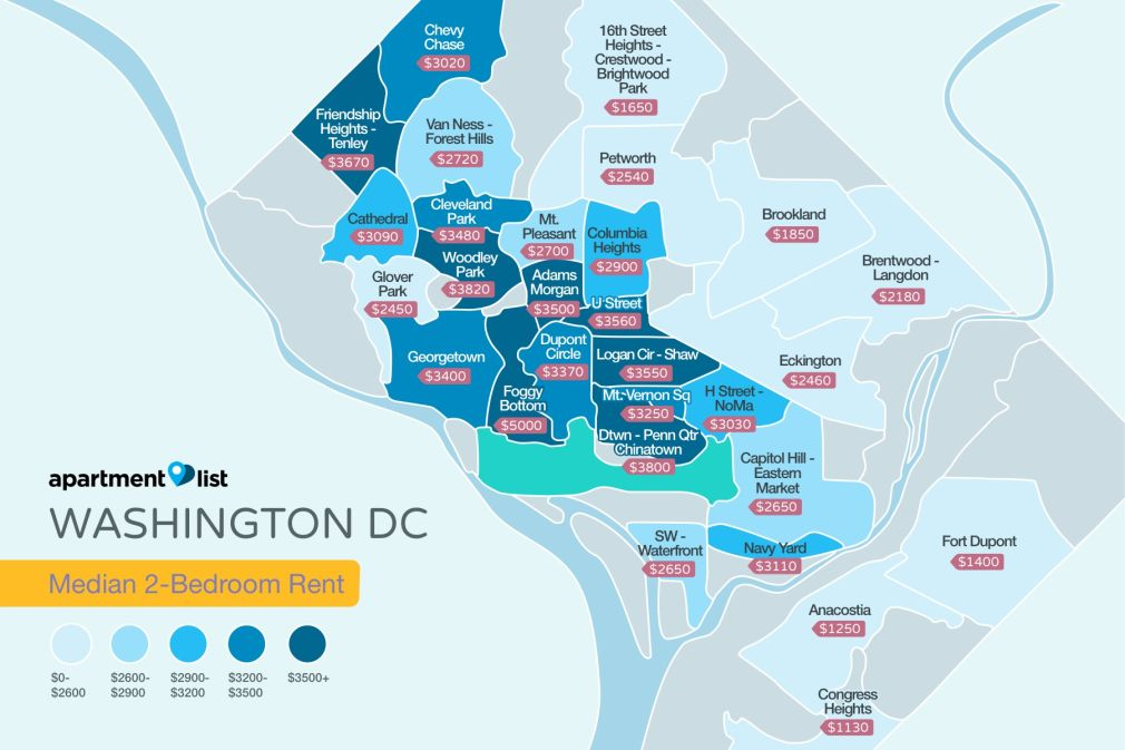 Washington DC Rent Map. 100 Best Apartments For Rent in Washington  DC from  780