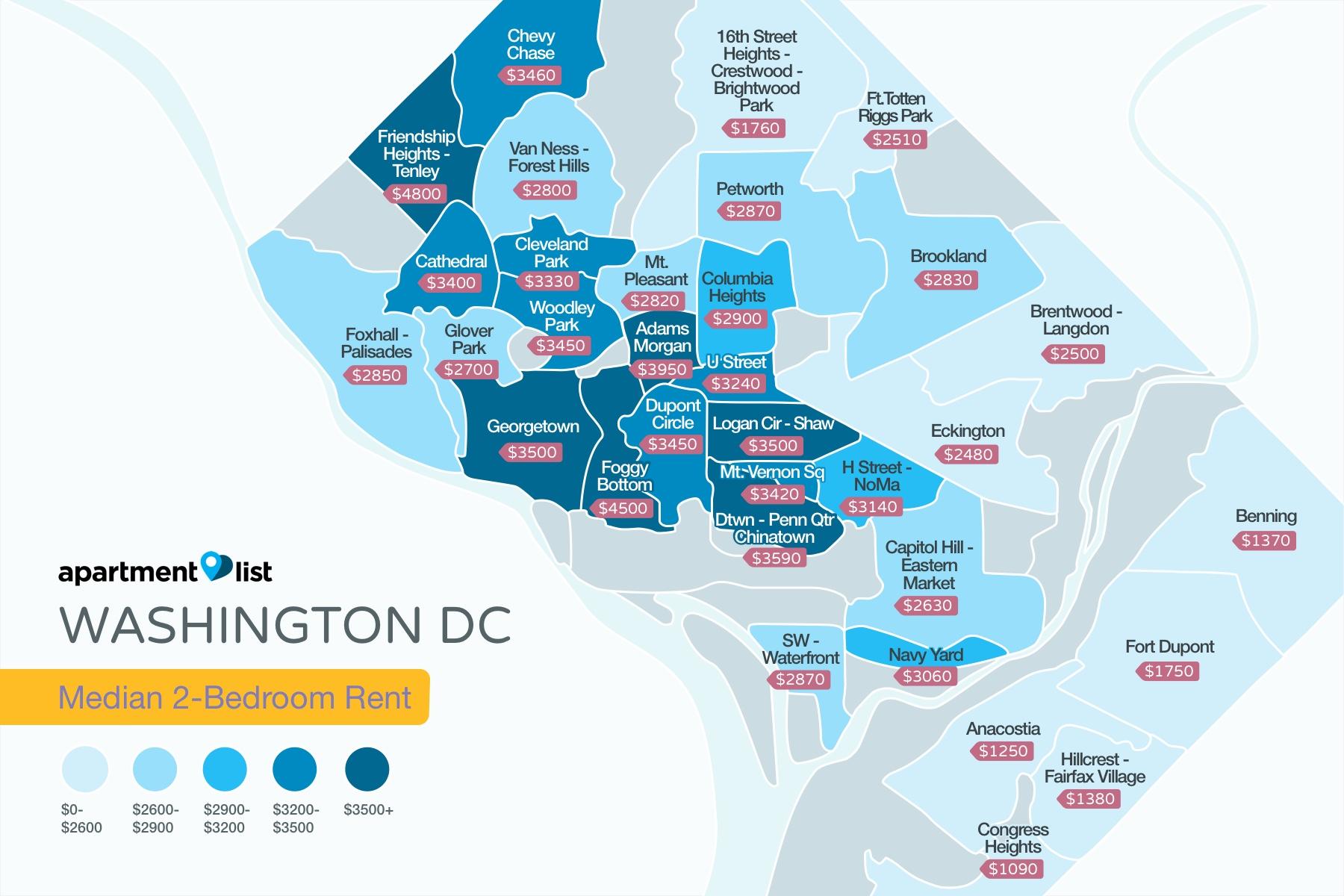 Washington DC Neighborhood Price Map