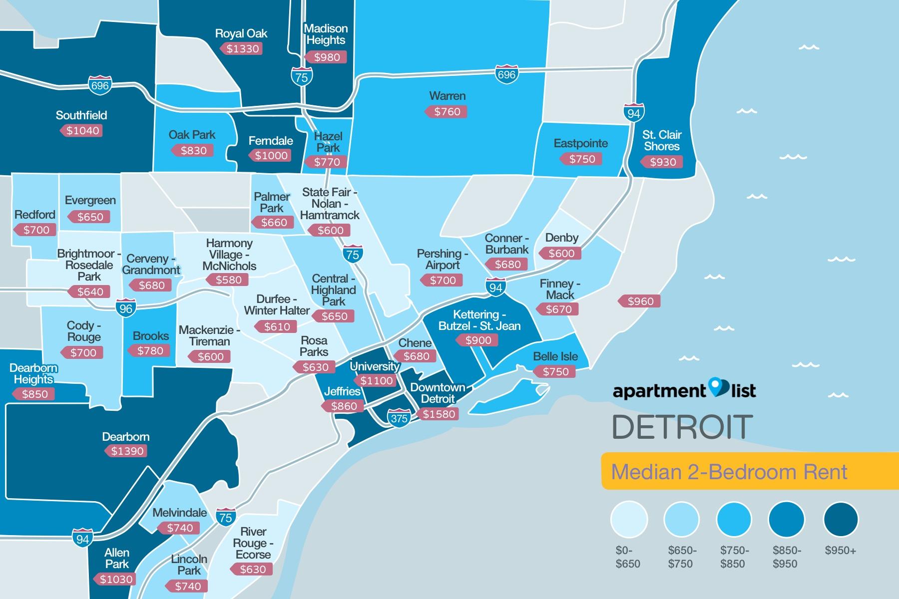 Detroit Neighborhood Price Map