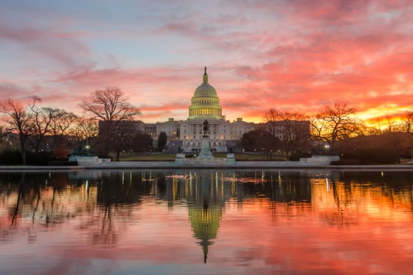 US Capitol Sunset Reflection