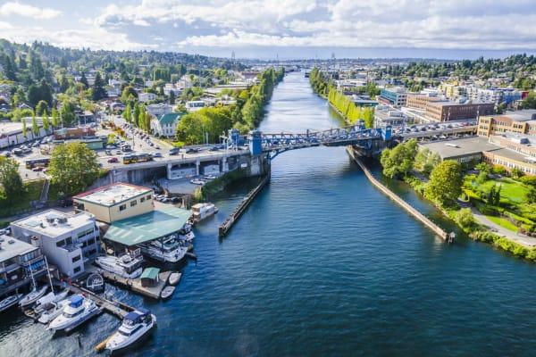 Fremont bridge across canal on sunny day, Seattle, Washington