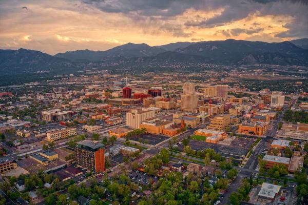 Colorado Springs at dusk
