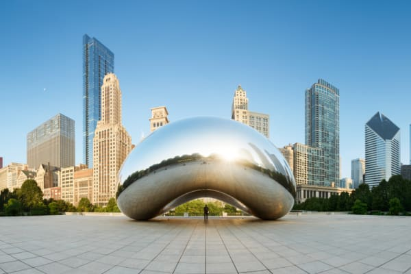 Panoramic image of the Cloud Gate or The Bean in the morning June 30 2013 in Millennium Park, Chicago, Illinois