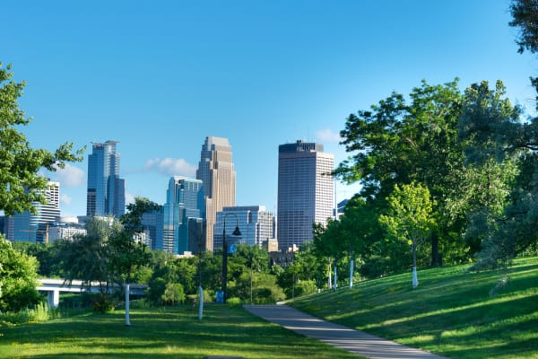 View of Downtown Minneapolis from West River Park
