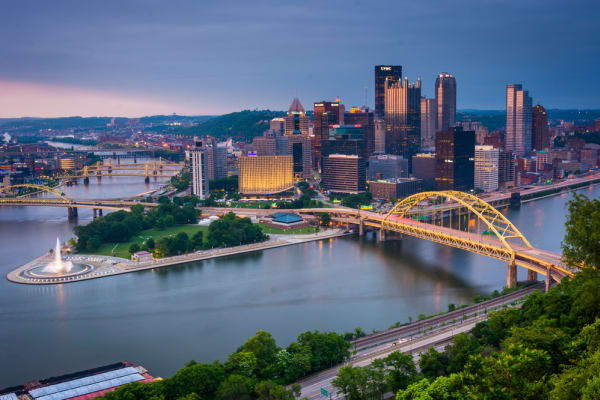 Evening view of Pittsburgh from the top of the Duquesne Incline in Mount Washington, Pittsburgh, Pennsylvania.
