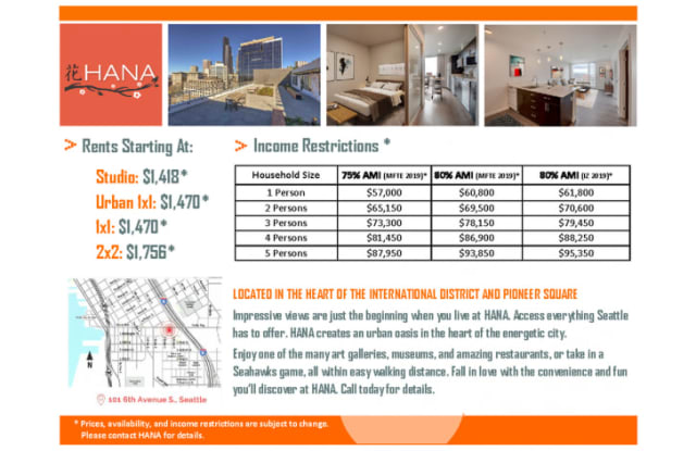 HANA Apartments – Income Restricted Housing - 101 6th Avenue South, Seattle, WA 98104