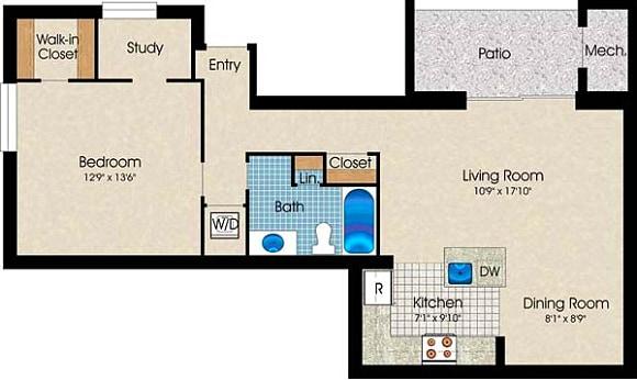 1 Bedroom, 1 Bath 740 Sq. Ft.