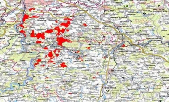 Brezany-mapa