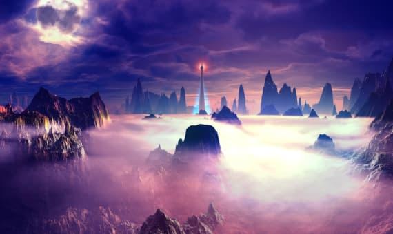 Watchtower set in dense fog on hositle planet