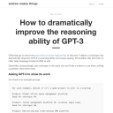 How to improve the reasoning ability of GPT-3
