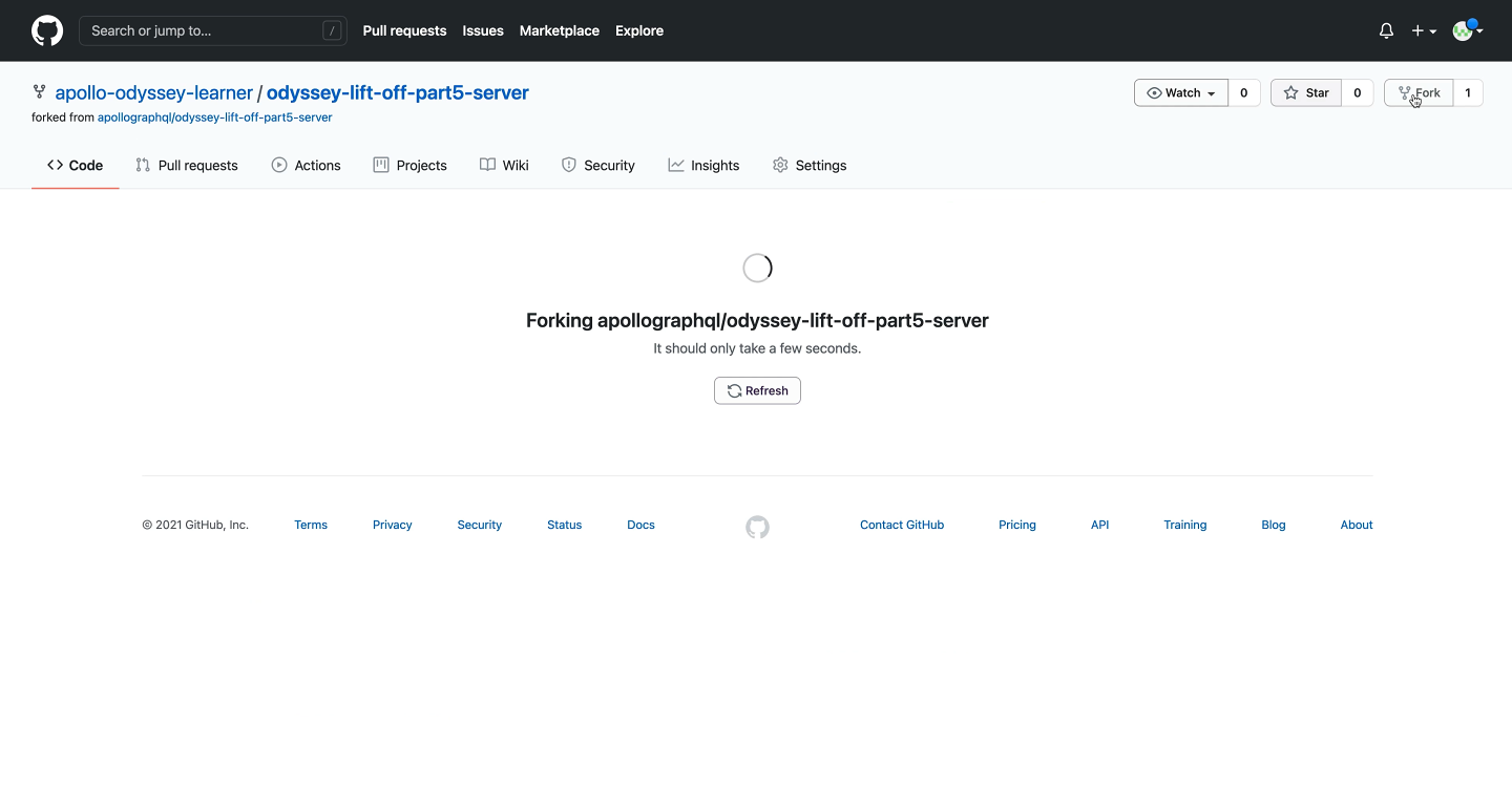 Screenshot of GitHub with a forked copy of the starter `server` repo