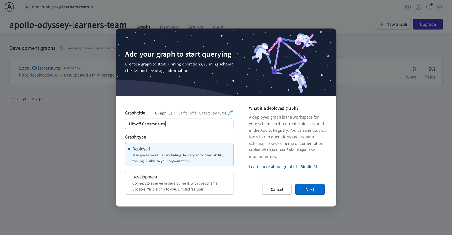 Screenshot of the modal for creating a new graph with the correct inputs