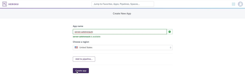 Screenshot of the Heroku dashboard showing the app creation page