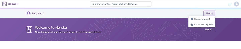 Screenshot of the Heroku dashboard showing the New app button