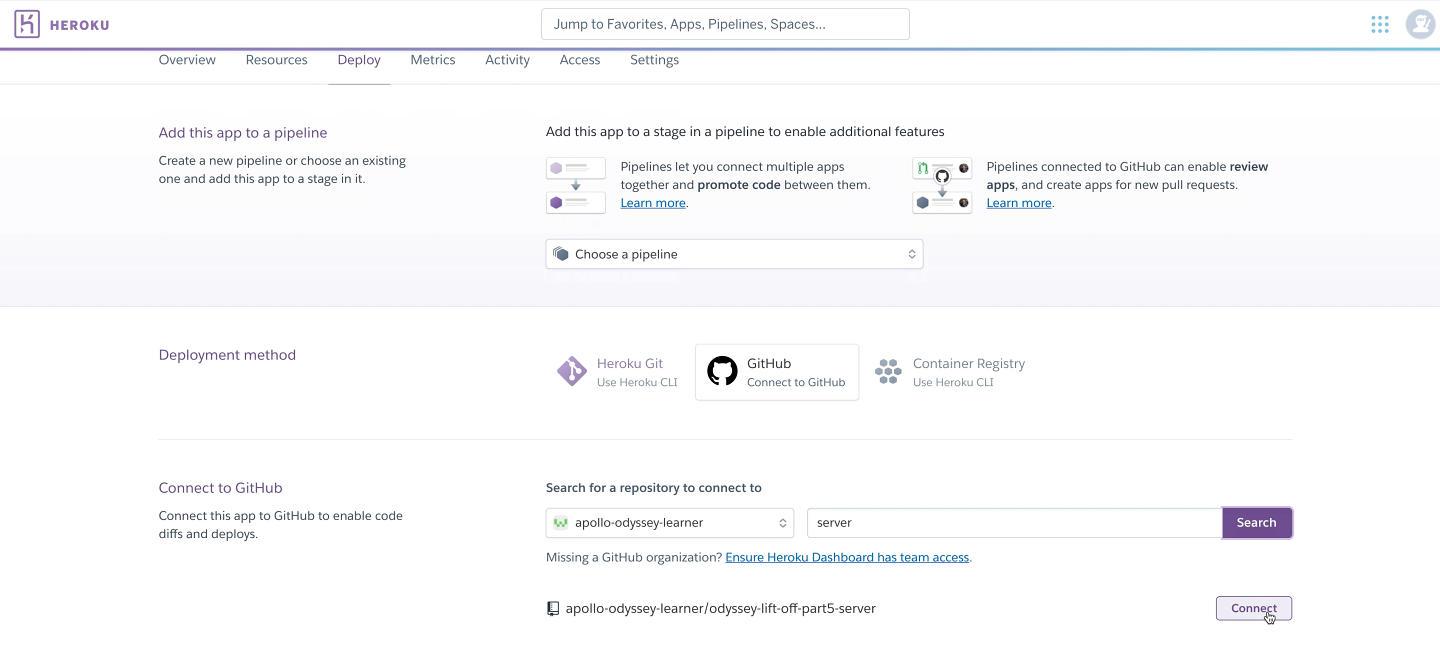 Screenshot showing the GitHub option selected and server repository to connect to