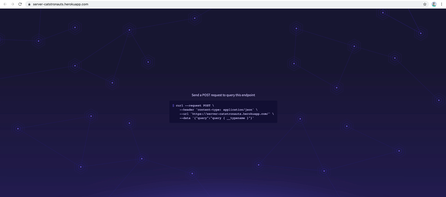 Screenshot of Apollo Server landing page in production