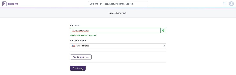 Screenshot showing Heroku and creating a new app
