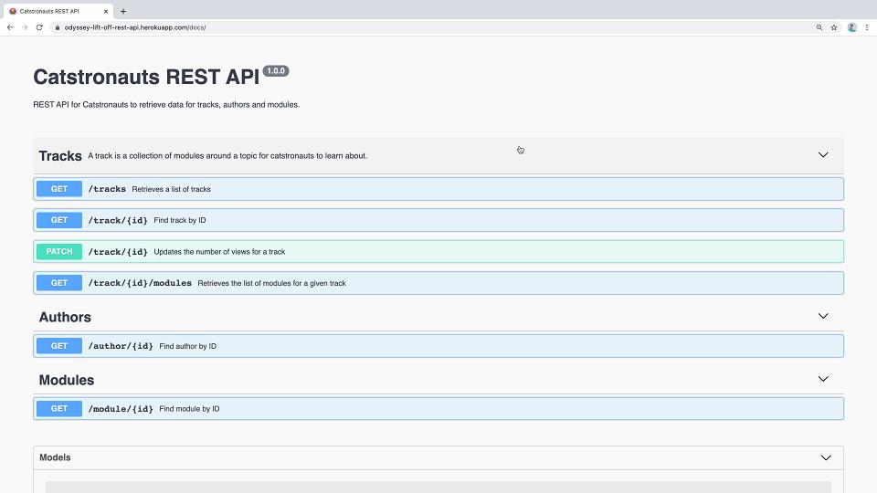 Screenshot of the documentation for the Catstronauts REST API