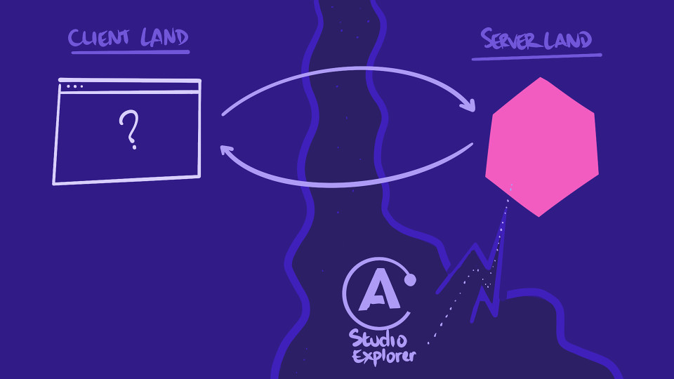Hand-drawn illustration depicting a shortcut to server land through Apollo Studio Explorer as an alternative to starting from client-land